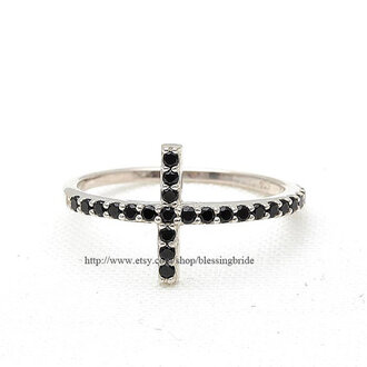 jewels jewelry ring baptism black crystals ring sterling silver ring silver ring cross ring sideways cross ring sideways cross jewelry easter