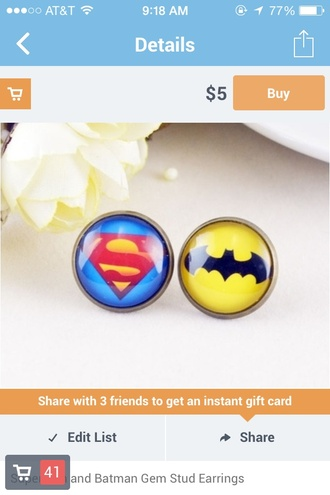 jewels superman blue yellow red batman black earrings studs mix and match