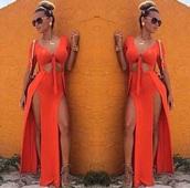dress,satin,orange high slit,dress bodycon,maxi dress,orange dress
