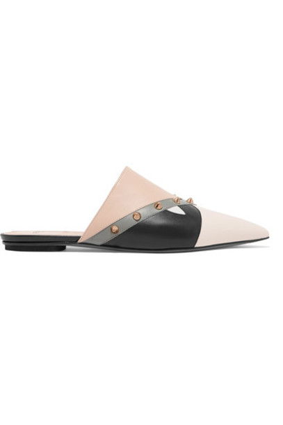 Fendi studded slippers leather beige shoes