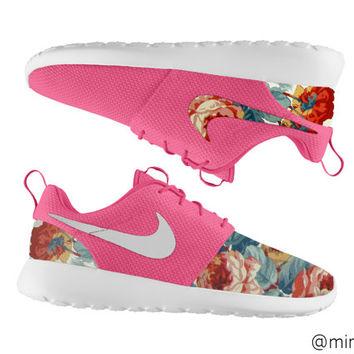 Floral Nike Roshe Run,  Roshe Run, Blue Roshe, Floral Roshe, Pink Roshe Run on Wanelo