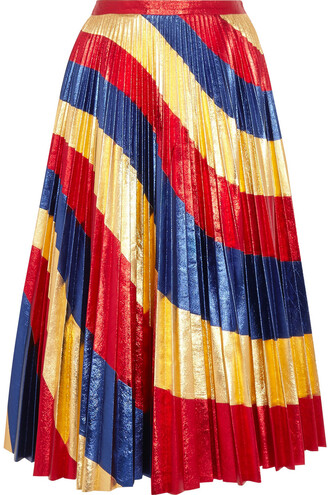 skirt leather skirt pleated metallic leather gold blue