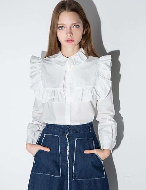 7ab0021216e shirt white ruffle bib shirt ruffle shirt cute top girly top bib shirt  girly pixiemarket 28719