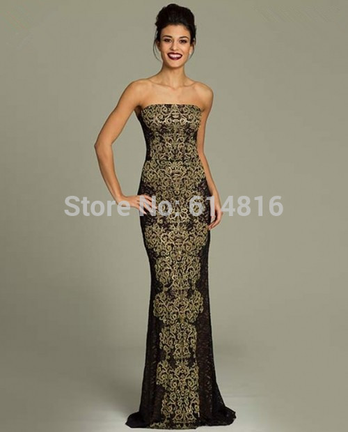 Aliexpress.com : Buy Gorgeous Maxi Designer Gold Embroidery Black Lace Sheath Low Back Pageant Prom Party Dresses 2014 Off Shoulder from Reliable party time pageant dresses suppliers on Suzhou Babyonlinedress Co.,Ltd