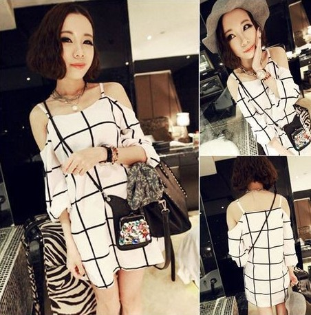 2014 Summer Womens Chiffon Black White Check & Plaid Print Off Shoulder Casual Dress-in Dresses from Apparel & Accessories on Aliexpress.com