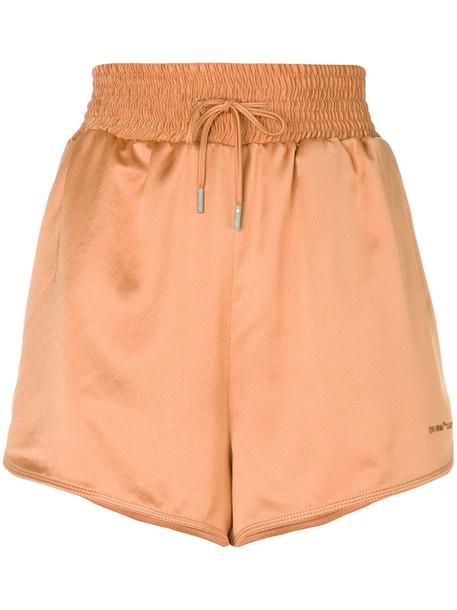 Off-White shorts women cotton yellow satin orange