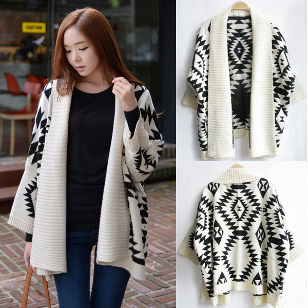 White Aztec Tribal Sweater Jacket Cardigan Warm Loose Oversized ...