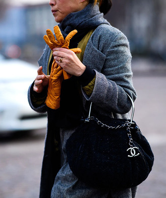 coat tumblr grey coat sweater yellow yellow sweater bag black bag chanel skirt grey skirt gloves scarf grey scarf fashion week 2017 streetstyle