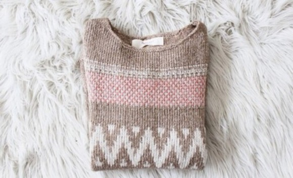 brown sweater pink pattern