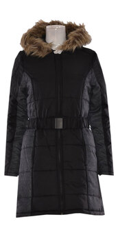 coat,women fur hooded quilted parka belted jacket  black & grey