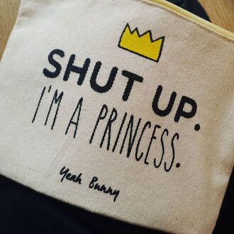 make-up yeah bunny bag cosmetics shut up pouch princess pouch shut up im a princess gift ideas girly