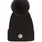 Pompom wool and fur beanie hat
