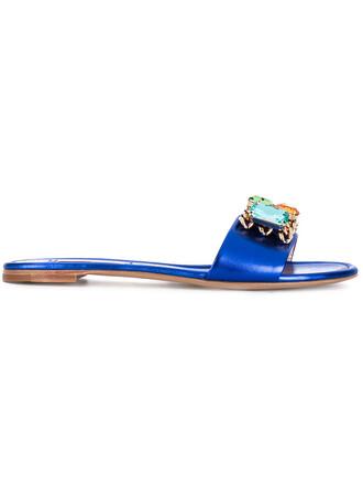 women embellished sandals flat sandals leather blue shoes