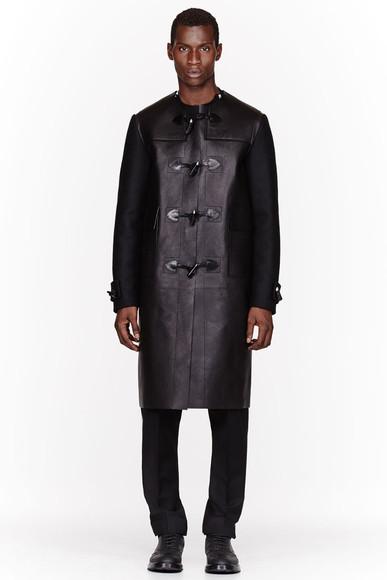 menswear mens coat duffle coat black leather coat