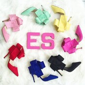 shoes,high heels,bow heels,pink heels,blue heels,red heels,mint heels,yellow heels,black heels,black high heels,blue high heels,red high heels,pink high heels,cerise heels,hot pink high heels,hot pink heels,mint high heels,yellow high heels