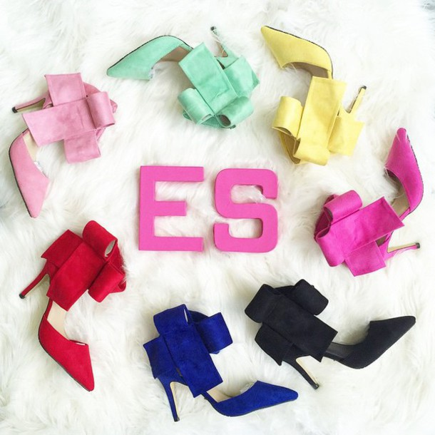 Shoes: high heels, bow heels, pink heels, blue heels, red heels ...