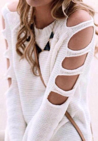 sweater cardigan necklace clothes girly white top revealing