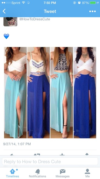 blue skirt slit skirt