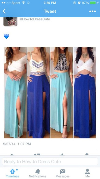 slit skirt blue skirt