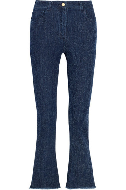 ETRO jeans cropped high blue paisley