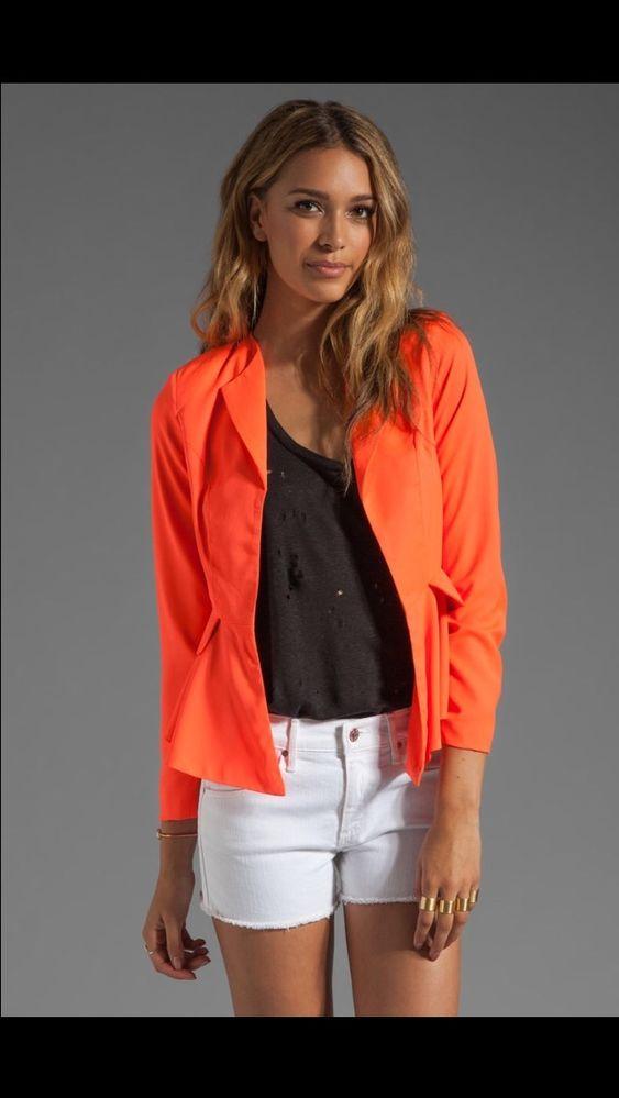 Naven Bardot Blazer Jacket Neon Peach Orange Retail $300 Medium | eBay
