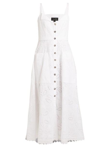 Saloni dress midi dress midi cotton white