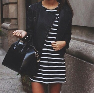 stripes striped dress stripey t-shirt black white black and white dress black and white cute perfecto jacket