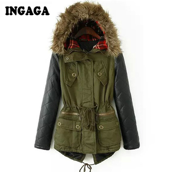 Ingaga brand new s 5xl 2014 clothing winter women parka casual army green contrast pu leather faux fur hooded female coat