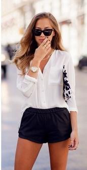 bag,kenza,print black white kenza,cow print bag,shorts,black,blouse,high waisted