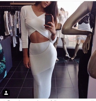 skirt style fashion outfit crop tops long sleeves pencil skirt top white crop tops white top white skirt