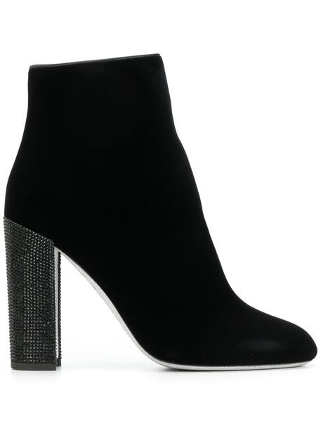 René Caovilla heel women ankle boots leather black velvet shoes