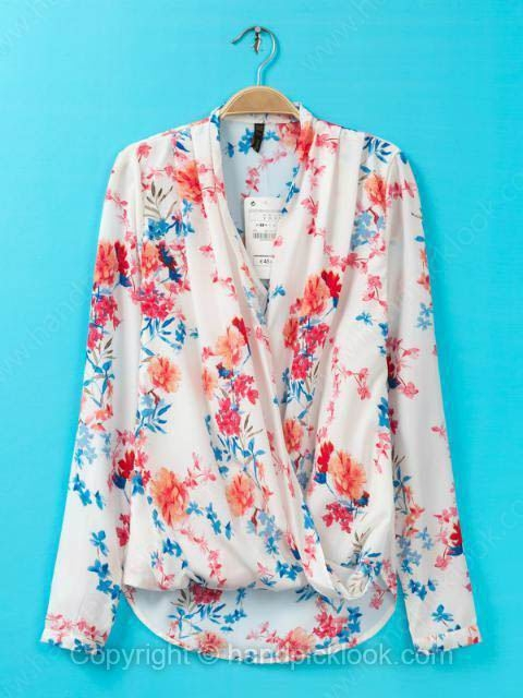 White V-neck Long Sleeve Flowers Print Blouse - HandpickLook.com