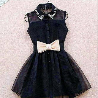 dress black black dress ribbon studs studded studded dress cute dress cute