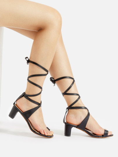 00be723f7aa Criss Cross Toe Ring Block Heeled Sandals