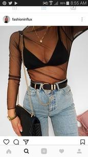 shirt,mesh,black,jeans,top,mesh top,long sleeves,sheer,seee through,high wasted denim jeans