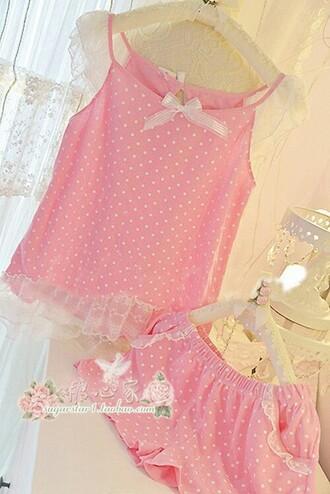 pajamas pink underwear polka dots