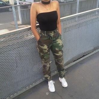 pants camo pants camouflage high waisted black shirt vue boutique camouflage pant