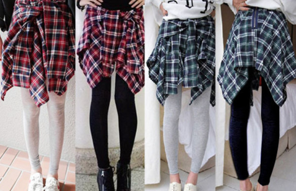 Women's New Fashion Fake Check Shirt Layered Style Skirt Blouse ...