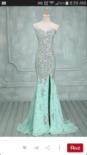 dress,light blue,sparkle,formal dress,prom dress,slit dress,sweetheart neckline