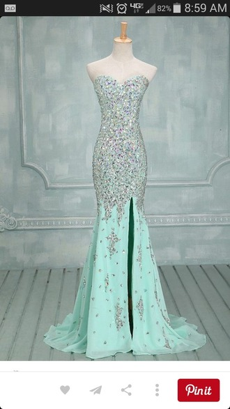 dress light blue sparkles formal dress prom dress slit dress sweetheart neckline