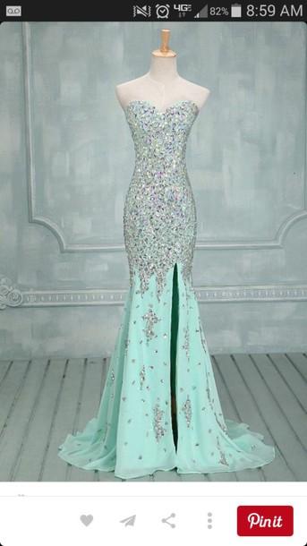dress light blue sparkle formal dress prom dress slit dress sweetheart neckline