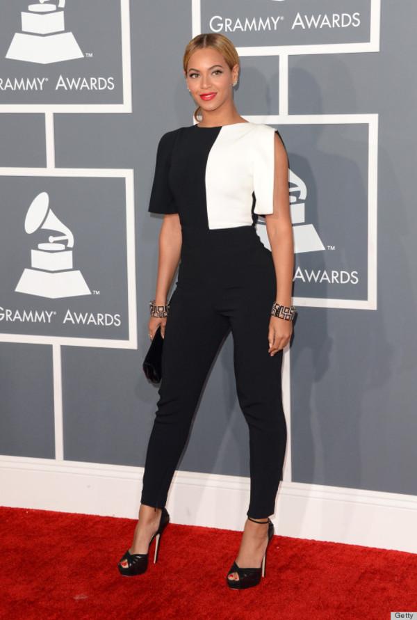 dress suit black and white jumpsuit