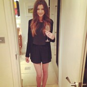 shorts,eleanor calder,classy,cute,black,party,blouse,jacket,black shorts