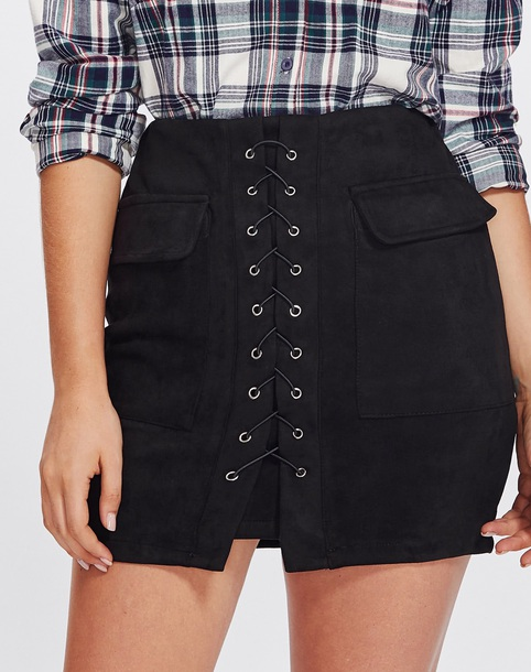 skirt girly black lace lace up suede suede skirt mini mini skirt