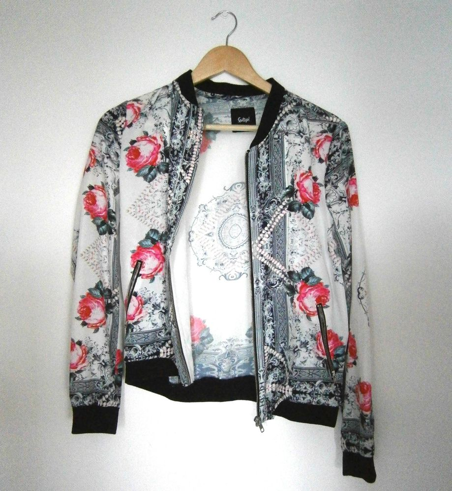 Sportsgirl Floral Bomber Jacket Size 8 | eBay
