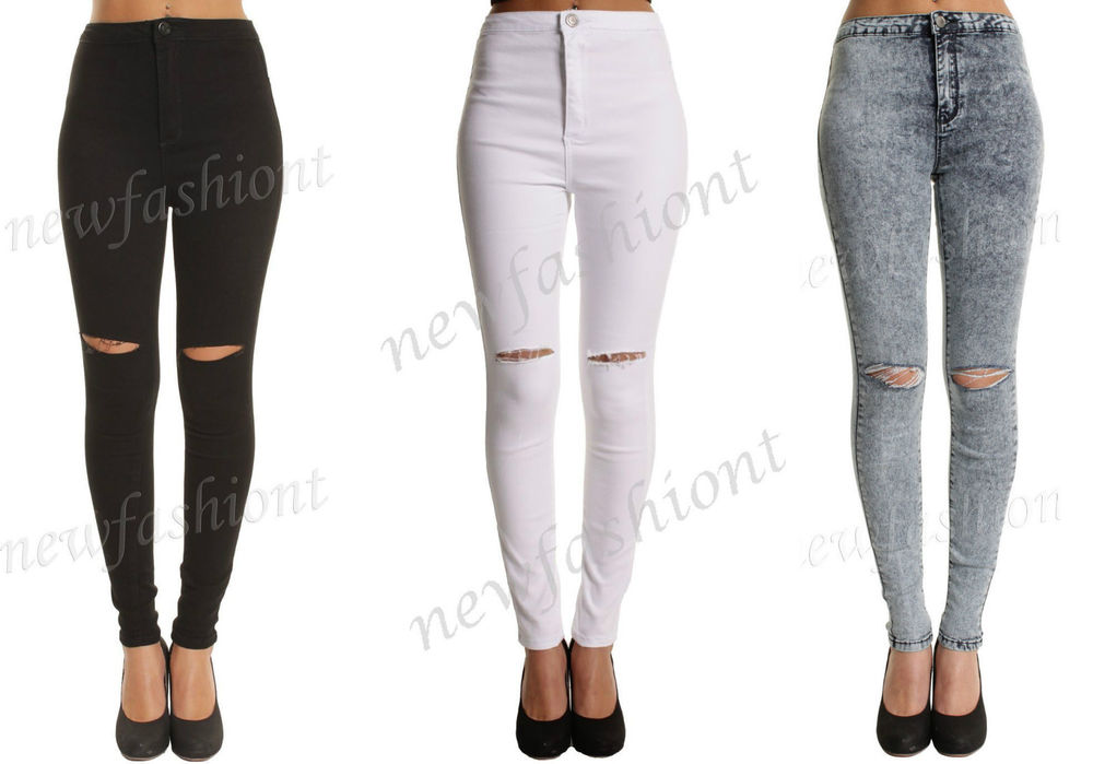 6548f336d8205 Ladies Ripped Knee Sexy Skinny Jeans Womens High Waisted ...