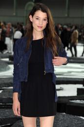 suede jacket,astrid berges frisbey,paris fashion week,leather,blue jacket,jacket
