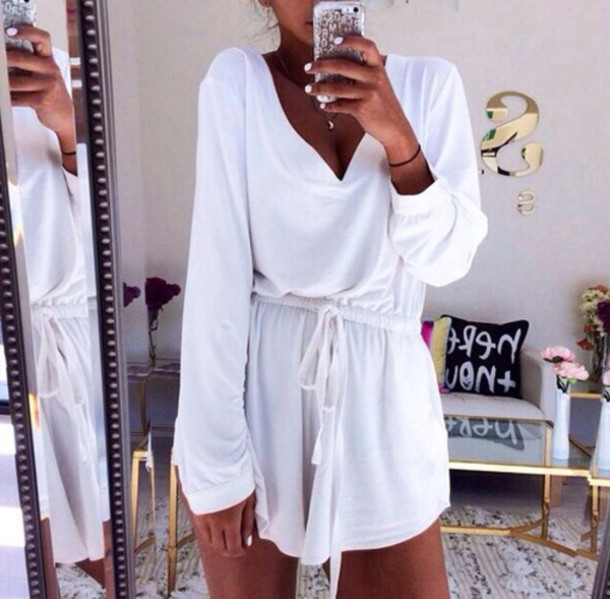 jumpsuit white romper drape short sleeve dress shirt dress white dress