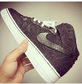 shoes grey nike pattern white flowers