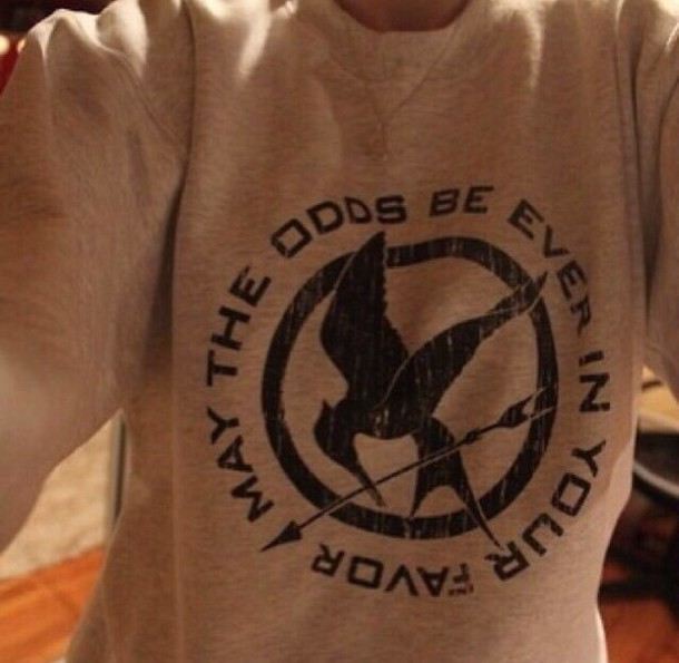 sweater the hunger games may the odds be ever in your favor sweatshirt grey sweater the hunger games mockingjay catching fire hipster hippie cool design t-shirt christmas sweater holiday gift color/pattern black